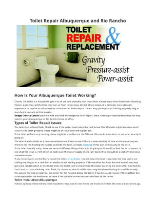 Toilet Repair Albuquerque