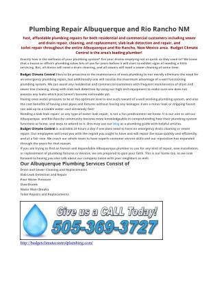 Plumbing Repair Albuquerque