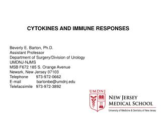 CYTOKINES AND IMMUNE RESPONSES