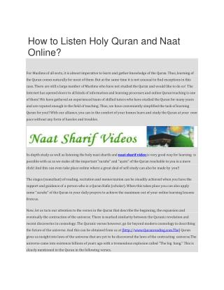 How to Listen Holy Quran and Naat Online