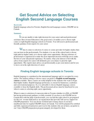 Get Sound Advice on Selecting English Second Language Courses