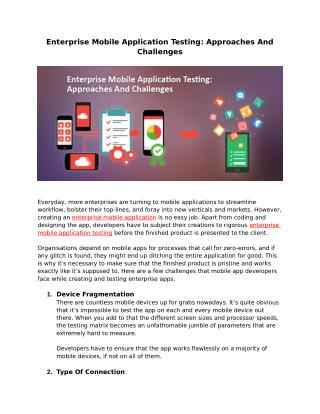 ENTERPRISE MOBILE APPLICATION TESTING: APPROACHES AND CHALLENGES