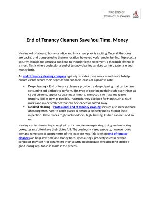 End of Tenancy Cleaners Save You Time, Money