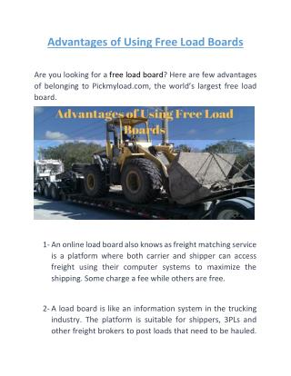 Advantages of Using Free Load Boards | Pickmyload.com