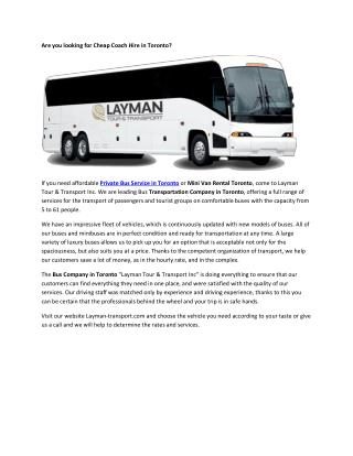 Chartered Bus Rental Toronto