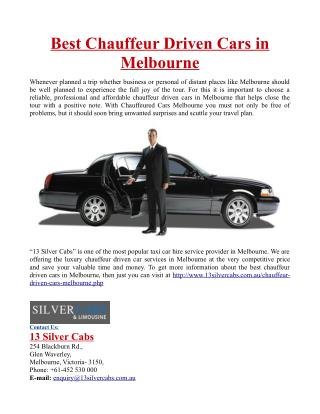 Best Chauffeur Driven Cars in Melbourne