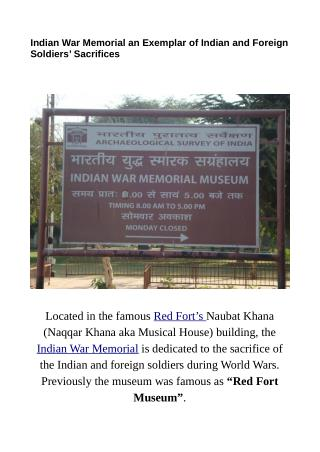 Indian War Memorial Museum an Exemplar of Indian and Foreign Soldiers' Sacrifices
