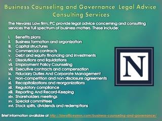 Business Counseling and Governance, Legal Advice, Consulting Services
