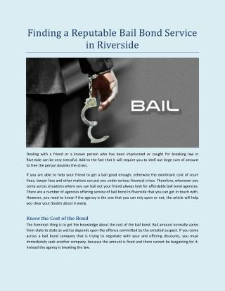 Finding a Reputable Bail Bond Service in Riverside