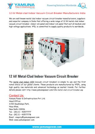 Metal-clad Indoor Vacuum Circuit Breaker Manufacturers India