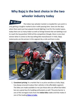 Why Bajaj is the best choice in the two wheeler industry today