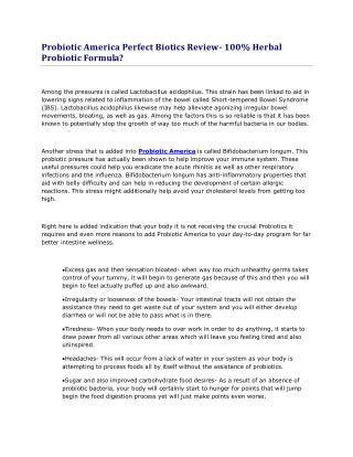 What is Perfect  Biotics&its benefits?