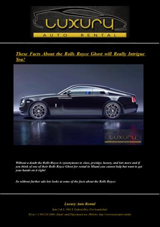 These Facts About the Rolls Royce Ghost will Really Intrigue You!