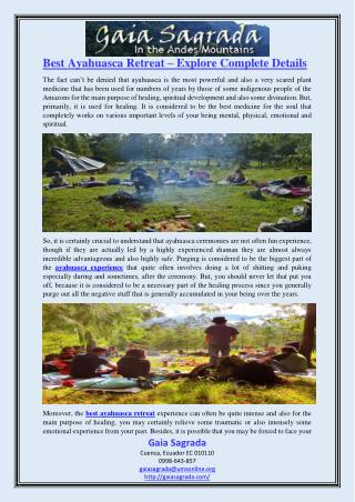 Best Ayahuasca Retreat – Explore Complete Details
