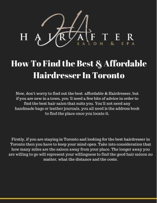 How To Find the Best & Affordable Hairdresser In Toronto You'Ll Love!