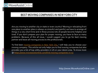 Looking for Top Moving Companies in New York?