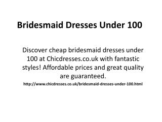 uk bridesmaid dresses under 100
