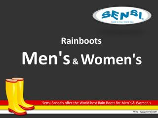 Sensi Sandals offer the World best Rain Boots for Mens and Womens