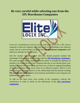 Be Very Careful While Selecting One From The 3pl Warehouse Companies