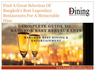 Find A Great Selection Of Bangkok's Best Legendary Restaurants For A Memorable Dine