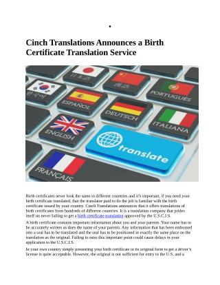 Cinch Translations Announces a Birth Certificate Translation Service