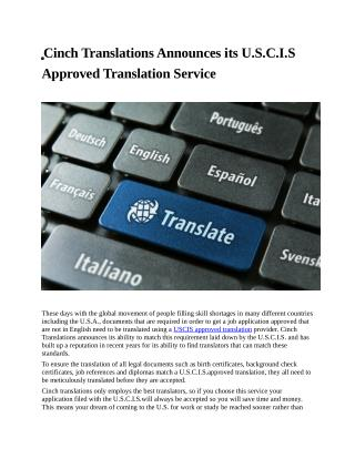 Cinch Translations Announces its U.S.C.I.S Approved Translation Service