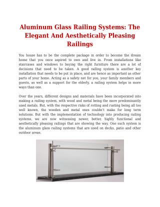 Aluminum Glass Railing Systems: The Elegant And Aesthetically Pleasing Railings