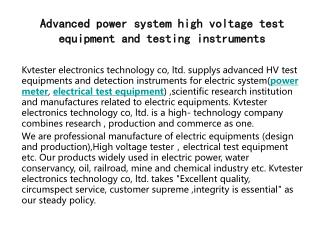 Advanced power system high voltage test equipment and testing instruments