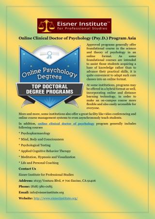 Online Clinical Doctor of Psychology (Psy.D.) Program Asia
