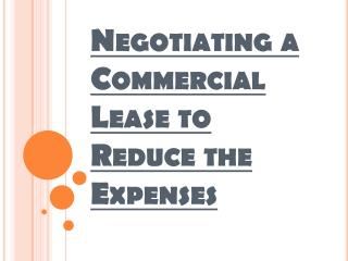 Various Cost Components of a Commercial Rental Lease