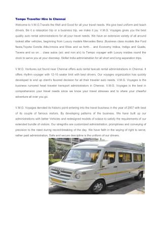 Tempo Traveller Hire in Chennai, Car Rental in Chennai