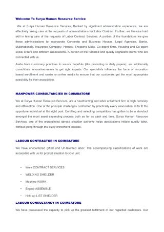 Manpower Consultancies in Coimbatore, Labour Consultancy