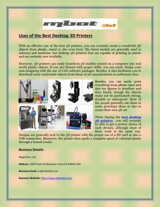 Uses of the Best Desktop 3D Printers