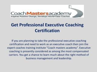 Get Professional Executive Coaching Certification