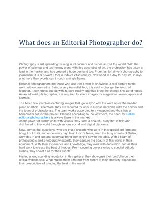What does an Editorial Photographer do?