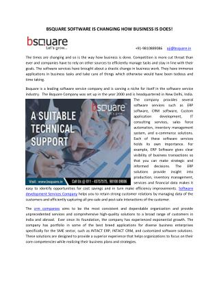 BSQUARE SOFTWARE IS CHANGING HOW BUSINESS IS DOES!