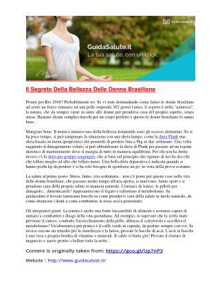 Il Segreto Della Bellezza Delle Donne Brasiliane