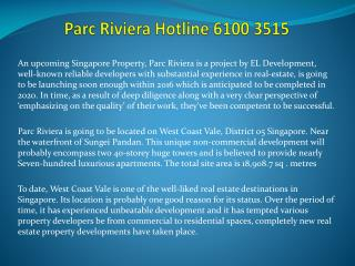 Parc Riviera Hotline 6100 3515