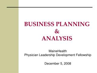 BUSINESS PLANNING  ANALYSIS