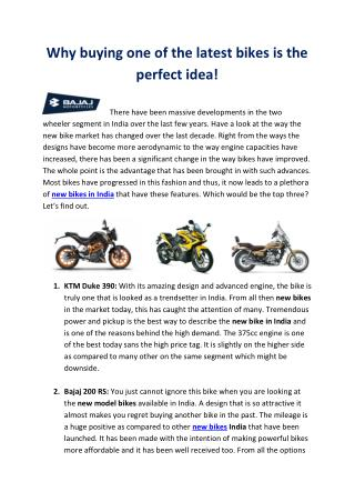 Why buying one of the latest bikes is the perfect idea!