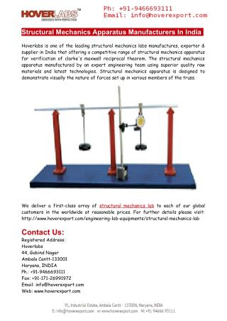 Structural Mechanics Apparatus Manufacturers India