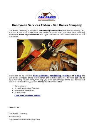 Handyman Services Elkton - Dan Banks Company