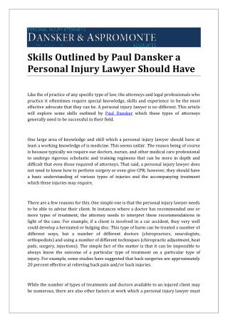 Skills Outlined by Paul Dansker a Personal Injury Lawyer Should Have