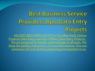 Best Business Service Providers Offline Data Entry Projects