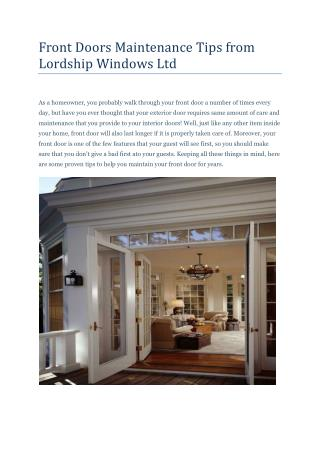 Front Doors Maintenance Tips from Lordship Windows Ltd