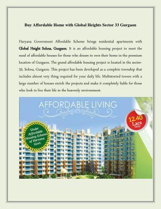 Global Heights Sohna Gurgaon Call  91 - 9250933999