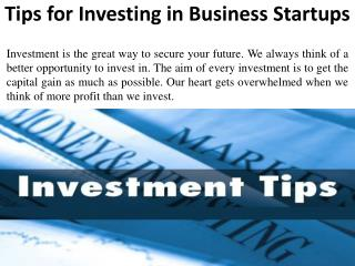 Tips for Investing in Business Startups - Norman Brodeur