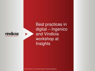 Best Practices In Digital – Ingenico And Vindicia Workshop At Insights