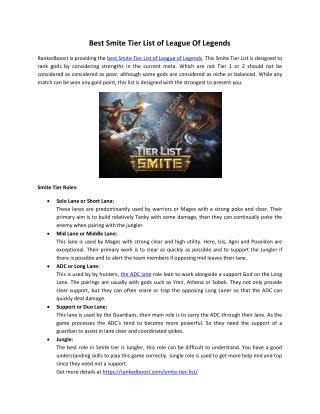 Best Smite Tier List of League Of Legends