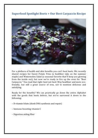"Superfood Spotlight: Beets   Our Beet ""Carpaccio"" Recipe"